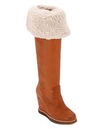 Dolce Vita - Women's Perly Fold-Over Wedge Heel Tall Boots