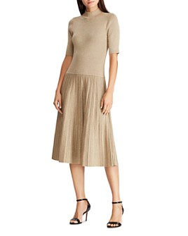 Ralph Lauren - Metallic Knit Mock Neck Dress