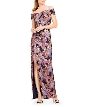 Aidan Mattox - Off-the-Shoulder Floral Jacquard Gown
