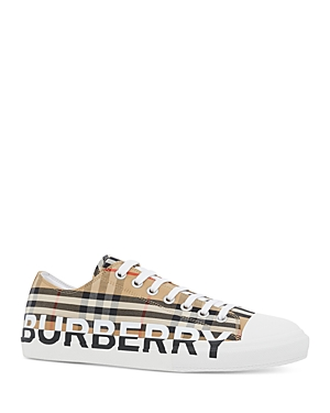 Burberry Men\\\'s Larkhall Logo Check Low-Top Sneakers