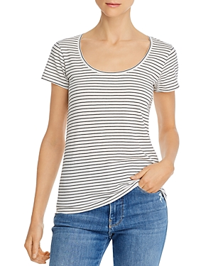 Frame Le Mid Rise Scoop Neck Striped Tee-Women