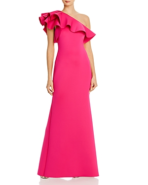Eliza J Ruffled One-Shoulder Gown-Women