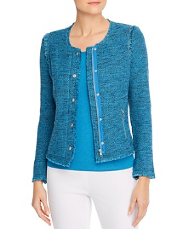 NIC and ZOE - Fringe-Trimmed Marled Knit Sweater Jacket