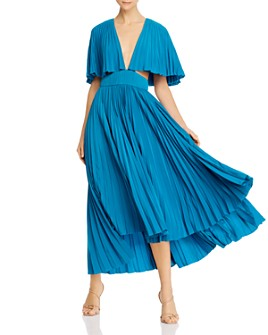 Amur - Dara Pleated Midi Dress with Cutouts