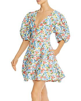 Amur - Avian Puff-Sleeve Floral Fit and Flare Dress