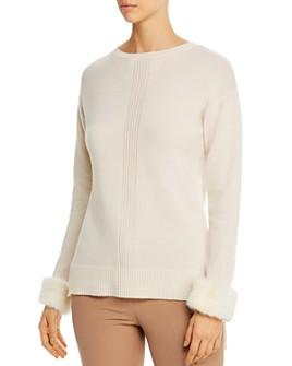 Max & Moi - Blanco Mink-Fur-Trimmed Merino-Wool & Cashmere Sweater