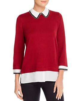 KARL LAGERFELD PARIS - Faux Shirt Underlay Sweater