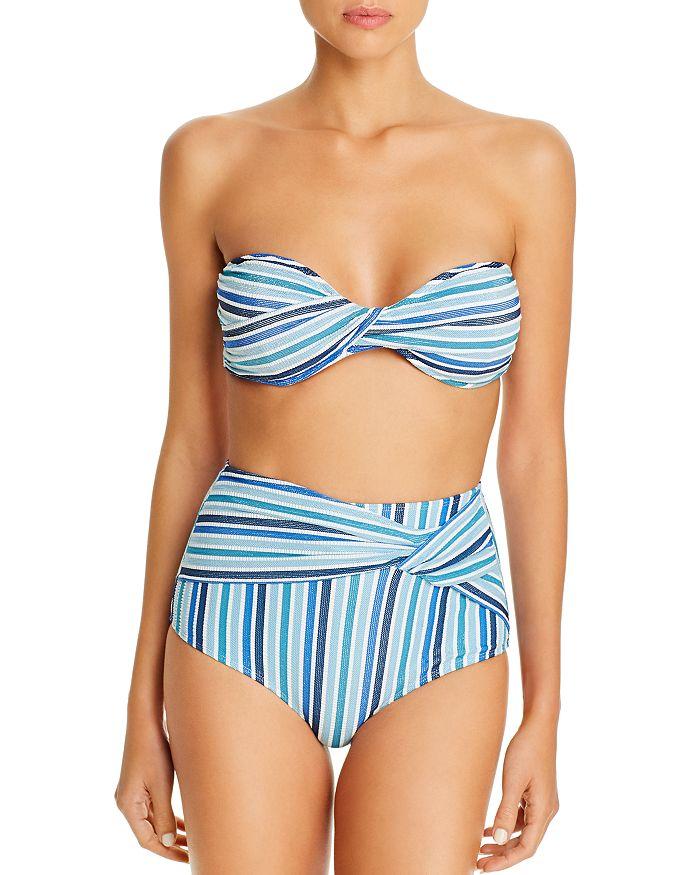 Jonathan Simkhai - Metallic-Detail Bandeau Bikini Top & Metallic-Detail High-Waist Bikini Bottom