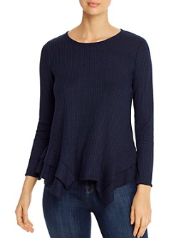 Status by Chenault - Ruffled Waffle Knit Top