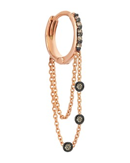 Kismet By Milka - 14K Rose Gold Champagne Diamond Double-Chain Hoop Earring