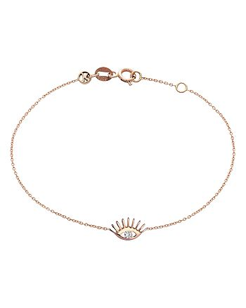 Kismet By Milka - 14K Rose Gold Diamond Evil Eye Bracelet