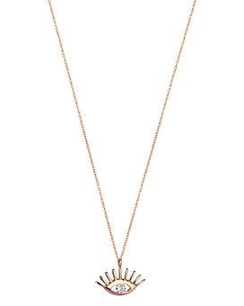 "Kismet By Milka - 14K Rose Gold Diamond Evil Eye Pendant Necklace, 18"""