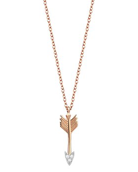 "Kismet By Milka - 14K Rose Gold Diamond Mini Arrow Pendant Necklace, 18"""