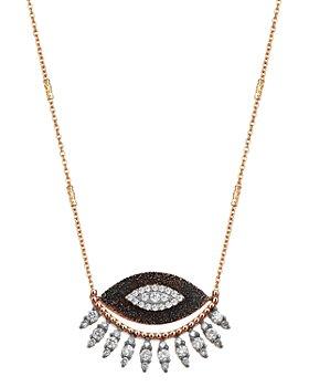 "Kismet By Milka - 14K Rose Gold Diamond 10th Eye Regina Pendant Necklace, 18"""