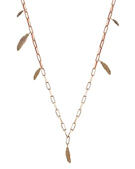 Kismet By Milka - 14K Rose Gold Asymmetrical Feather Chain Necklace, 24""