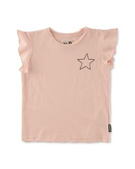 NUNUNU - Girls' Flutter-Sleeve Embroidered Star Tee - Little Kid