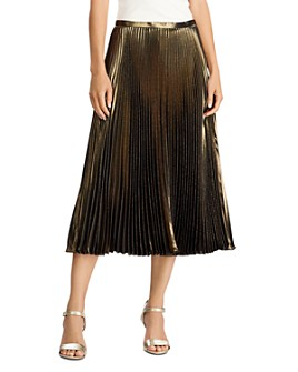 Ralph Lauren - Pleated Metallic Midi Skirt