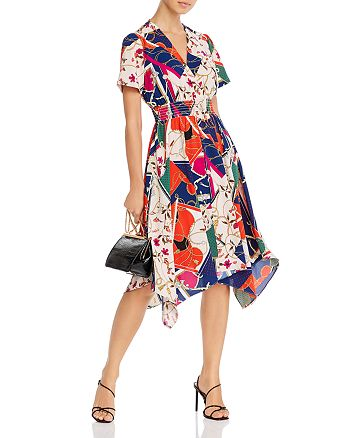 AQUA - Scarf-Print Fit-and-Flare Dress - 100% Exclusive
