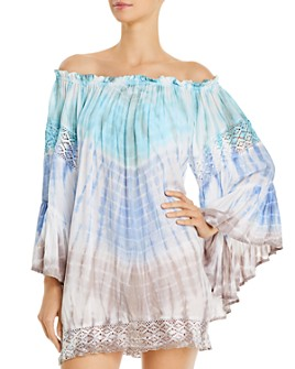 Surf Gypsy - Tie-Dyed Off-the-Shoulder Dress Swim Cover-Up