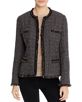 Weekend Max Mara - Street Fringed Open-Front Tweed Jacket