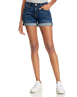 7 For All Mankind - Midroll Denim Shorts in Broken Twill Plaza