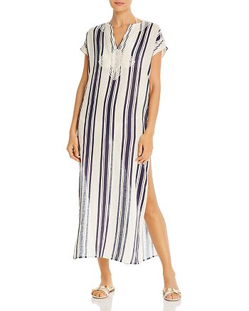Tory Burch - Awning-Stripe Caftan Dress