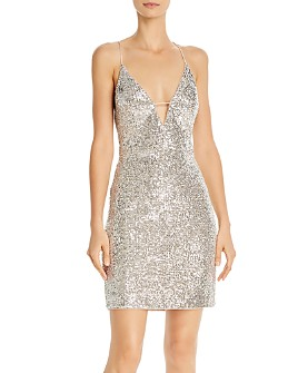 Aidan by Aidan Mattox - Sequin V-Neck Cocktail Dress - 100% Exclusive