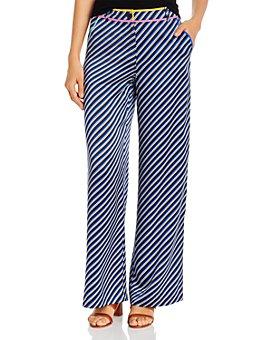 Tory Burch - Striped-Silk Wide-Leg Pants