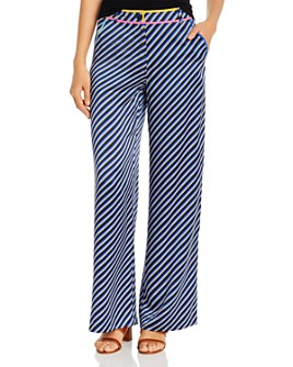 Tory Burch - Striped-Silk Wide-Leg Pants