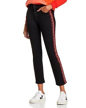 Mother The Dazzler Ankle Embroidered Trim Straight-Leg Jeans in Up In Flames-Women