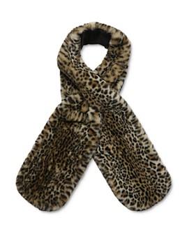 The Kooples - Leopard Print Faux Fur Scarf