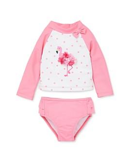 Little Me - Girls' Flamingo Rash Guard Top & Ruffled Rash Guard Bottom Set - Baby