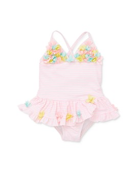 Little Me - Girls' Floral Appliqué Striped One-Piece Swimsuit - Baby