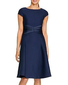 HALSTON - Cap Sleeve Cotton Faille Dress