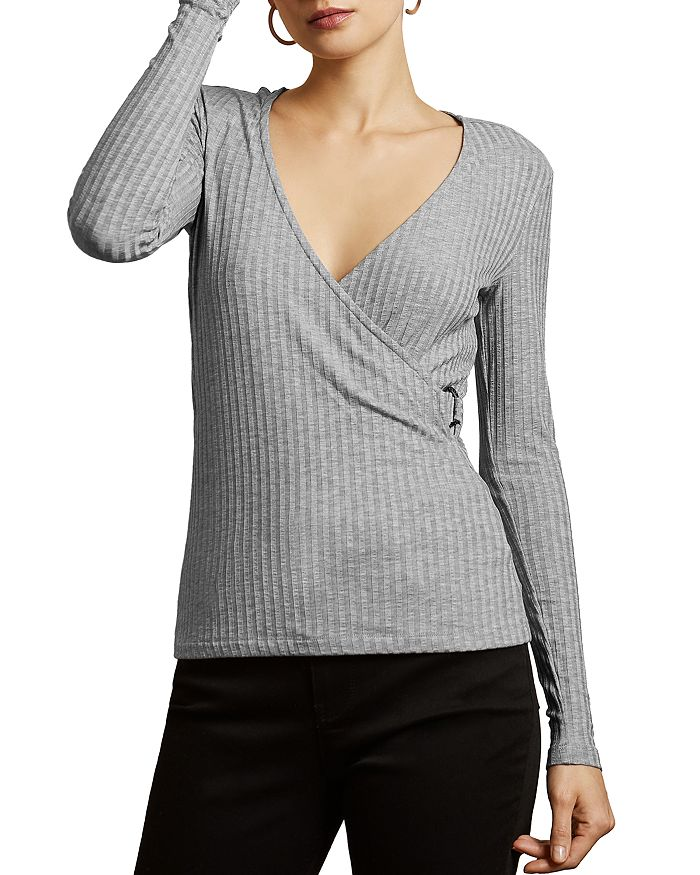 Ted Baker Starlai Faux-wrap Knit Top In Gray