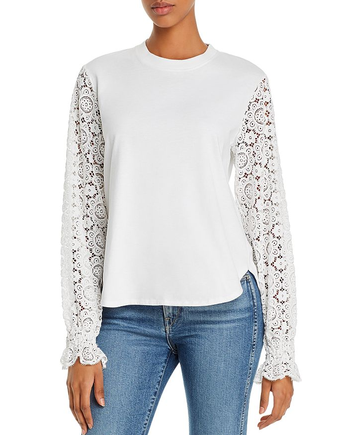 See By Chloé Cottons SEE BY CHLOE LACE-SLEEVE TOP