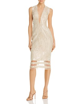 SAU LEE - Kendall Sequined Illusion Dress