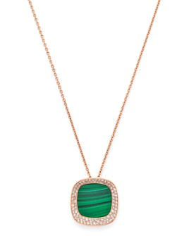 Roberto Coin - 18K Rose Gold Carnaby Street Diamond & Malachite Pendant Necklace, 16""