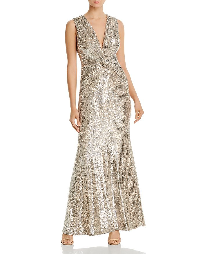 AQUA - Sequined Twist-Front Gown - 100% Exclusive