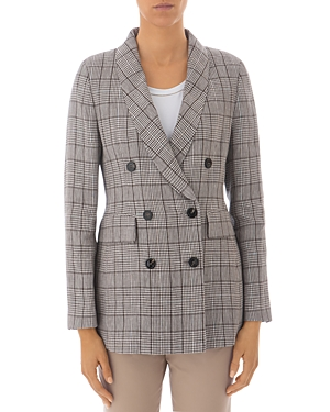 Peserico Checked Double-Breasted Linen Blazer