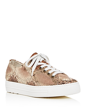 Paul Green Women\\\'s Ally Snake-Embossed Platform Low-Top Sneakers