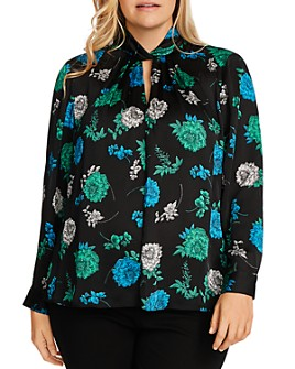 VINCE CAMUTO Plus - Twist-Detail Floral Print Top