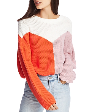 Image of 1.state Cotton Color-Block Sweater