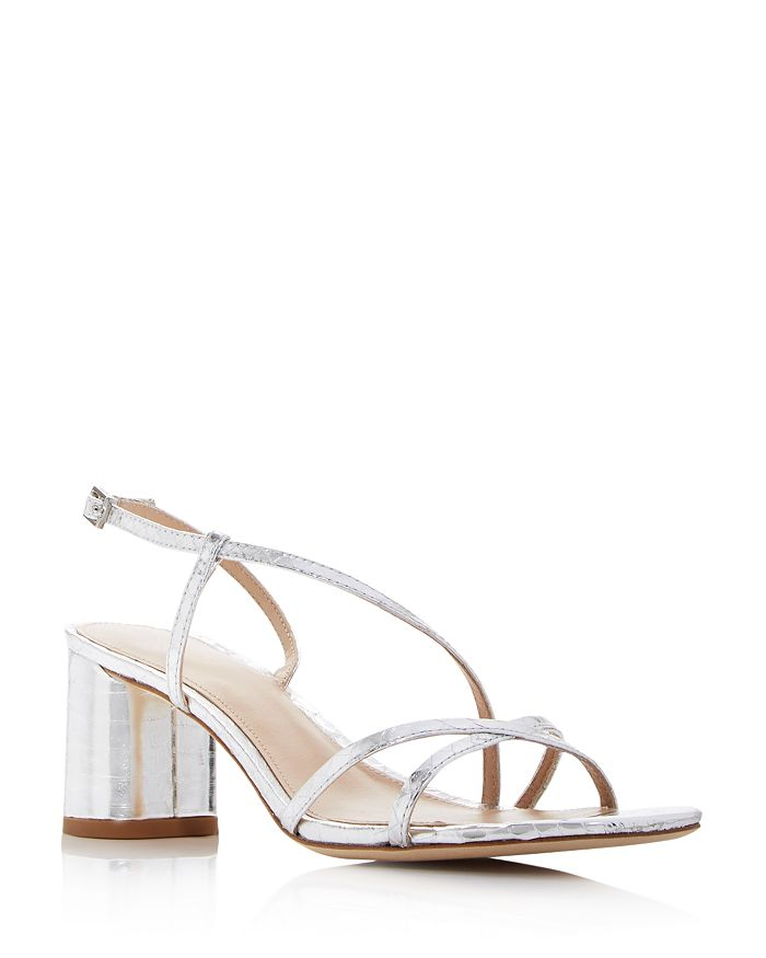 Via Spiga WOMEN'S ROSLYN SNAKE-EMBOSSED BLOCK-HEEL SANDALS