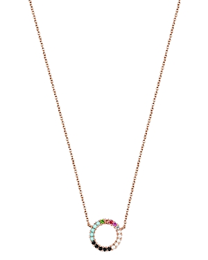 Tous 18K Rose Gold-Plated Sterling Silver Rainbow Gemstone Circle Pendant Necklace, 17.7