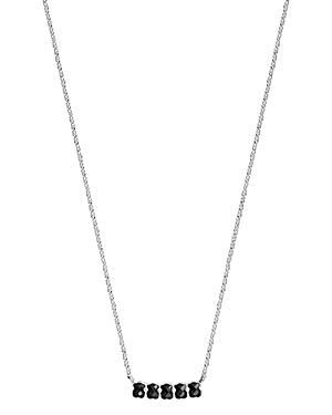 Tous Sterling Silver Onyx Bar Station Necklace, 17.7