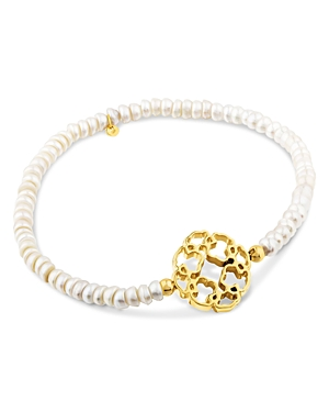 Tous 18K Yellow Gold & Glass Pearl Mosaic Bead Bracelet