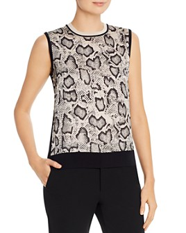 PAULE KA - Sleeveless Snakeskin Printed-Front Top