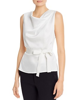 PAULE KA - Belted Sleeveless Satin Top