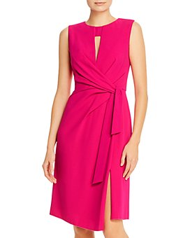 PAULE KA - Tie-Detail Crepe Satin Dress